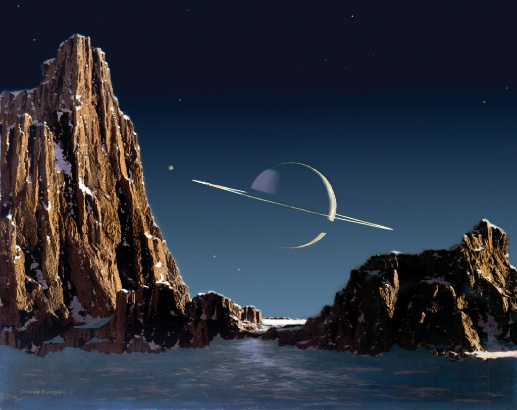 """""""Saturn As Seen From Titan"""" Painting by Chelsey Bonestell"""