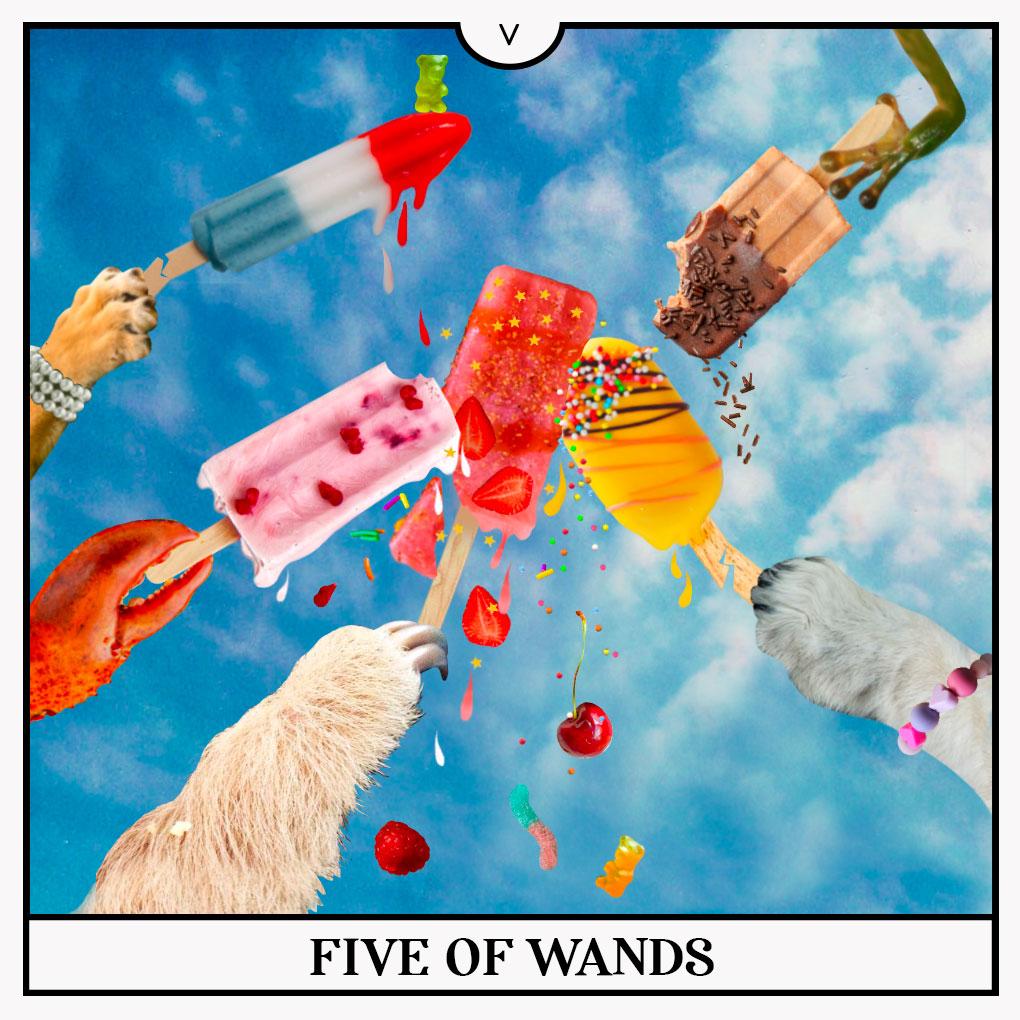 Five of wands tarot card.